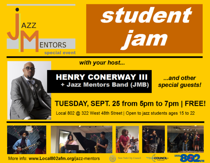 IMAGE_ Jazz Mentors presents a student jam on Sept. 25 at Local 802. Enable this image for details_