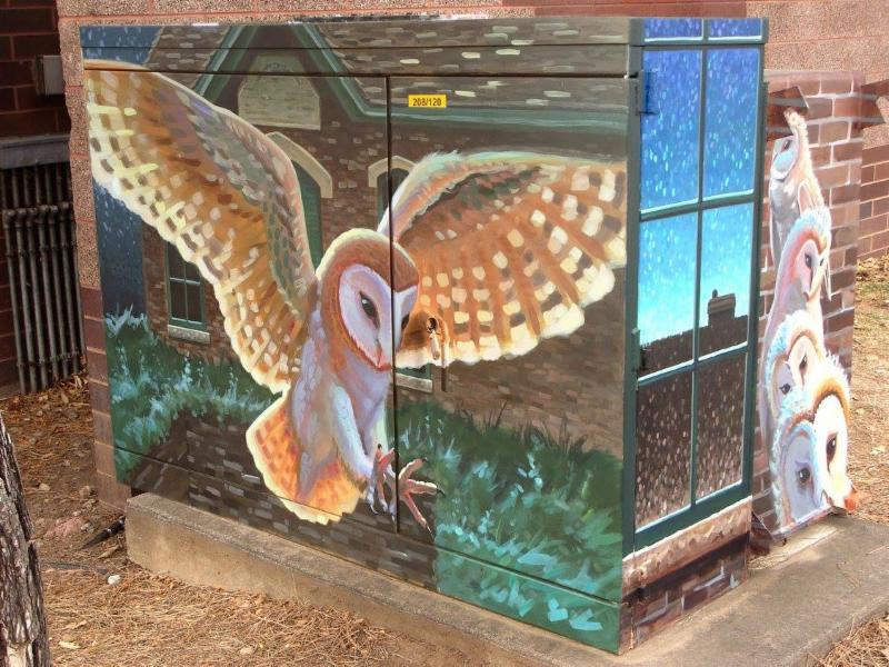 Artist Larry Tucci_s Barn Owl at Fort Collins Water Works mural