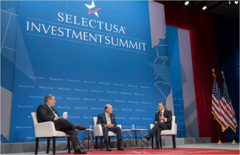 Department of Commerce Secretary Ross interviewing panelist about doing business in the USA