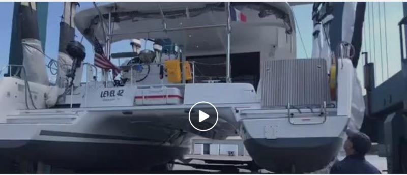 VIDEO: 'LEVEL 42' 2017 LAGOON 42 BEING SPLASHED AFTER A HAUL