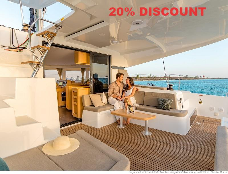 20% Discount offered on The Catamaran Company Charter Fleet in Tortola.