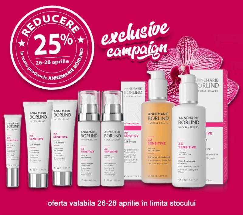 Cea mai mare campanie promotionala Annemarie Borlind din România!! 25% REDUCERE la toate produsele brandului