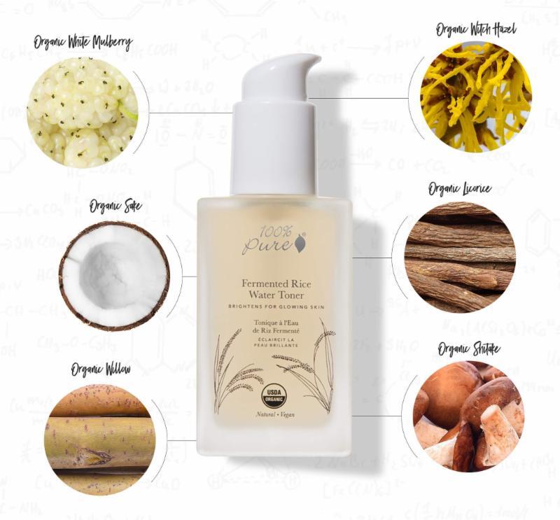 Lotiune tonica pentru luminozitate cu apa de orez fermentat - 100 Percent Pure Cosmetice