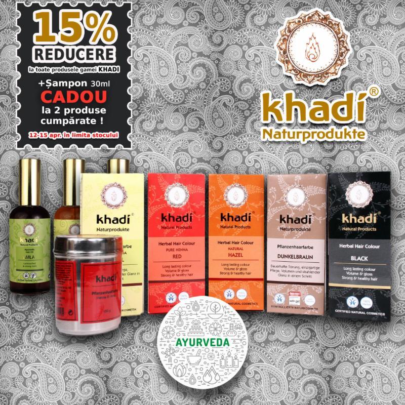 15 reducere la toate produsele gamei Khadi + sampon GRATIS la 2 produse Khadi comandate
