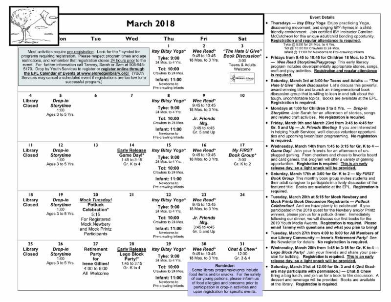 March 2018 Youth Calendar