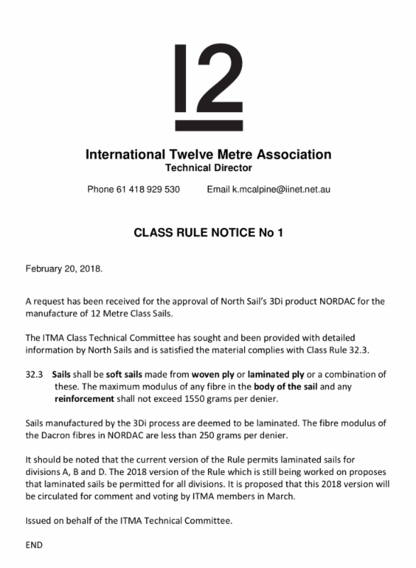 12mR Class Rule Notice No.1 - 2018 - North Sails_ NORDAC