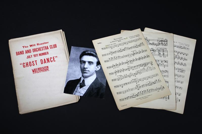 Wallace Hartley_s sheet music_ Wallace Hartley was the band leader who continued to play as the ship sank.  The sheet music was recovered from his body a week after the ship sank
