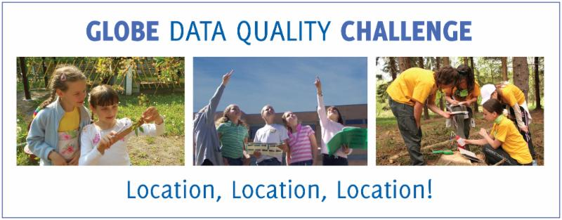 Three images with children participating in the GLOBE Data Quality Challenge.