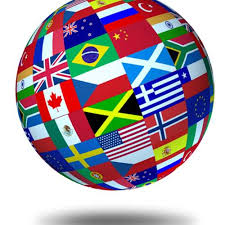 A globe with flags of different countries.