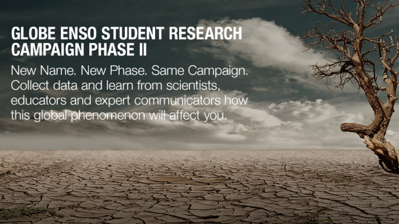 A cracked ground with a tree with the title GLOBE ENSO Student Research Campaign Phase II.