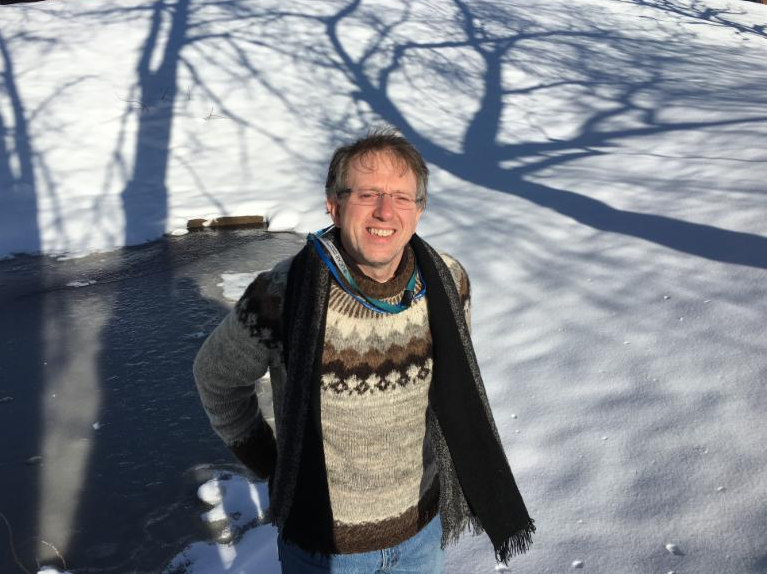 Dr. Tony Murphy standing in the snow at New Haven, Connecticut.