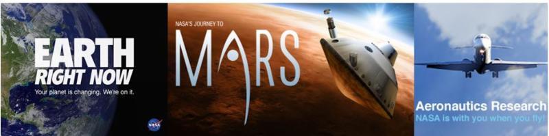 Earth Right Now, Mars and Aeronautics Research logos.