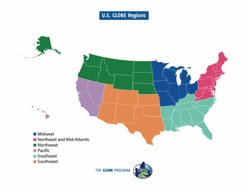 A map of different U.S. Globe Regions.
