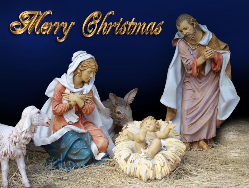 Image and illustration composition Christmas Nativity scene for card or background with gold text