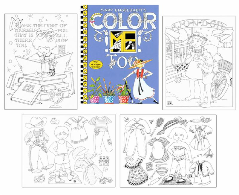 Mary Engelbreits Color ME Too Offers 48 Delightful Designs Including Two Paper Doll Pages Plus An Overall Clothes Pattern Page