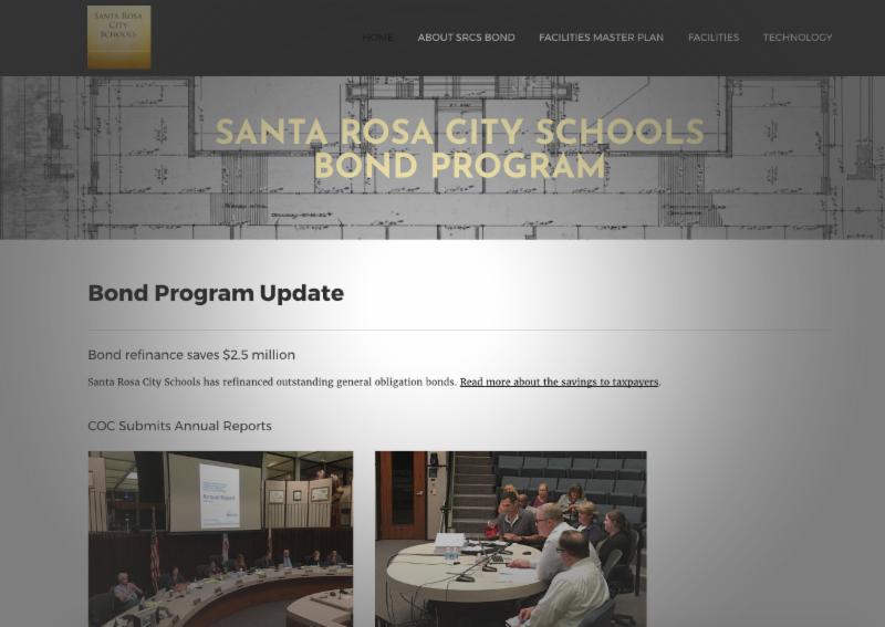 Home page of SRCS Bond Program website