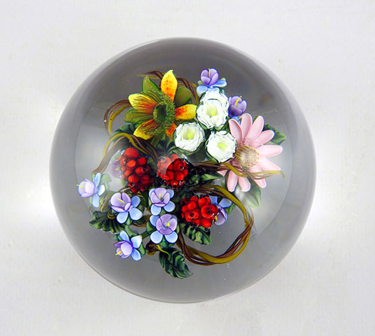 Bouquet With Red Berries Paperweight by Ken Rosenfeld