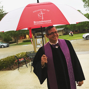 Donnie with BUMC umbrella