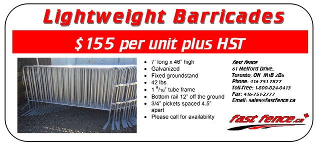 Lightweight barricades