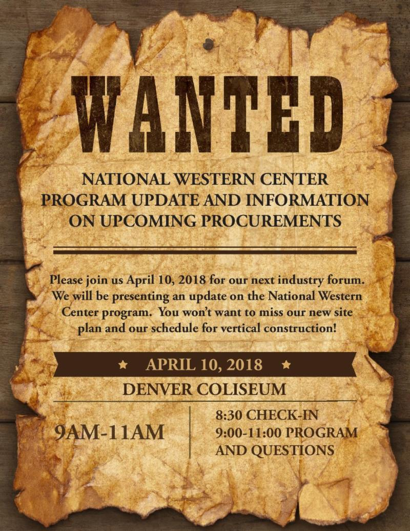 National Western Center Program Update and Information on Upcoming Procurements