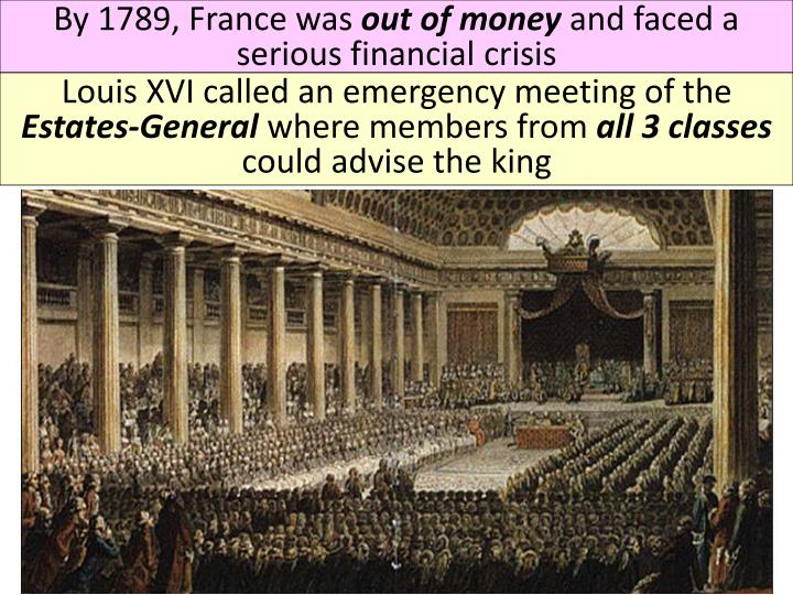 an overview of the calling of the estates general With worsening economic conditions and bread riots in the streets, the third estate clamored for change their only political voice was in the estates general, the.