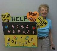 Ruth with Flea Market Sign