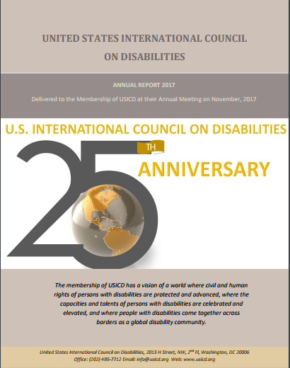 Cover of the 2017 USICD Annual Report with the logo for USICDs 25th anniversary which shows the globe in gray and gold embedded within the bottom curve of the numeral 5 in 25th Anniversary