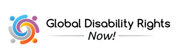 Swirling lines in blue purple orange and gray next to the black text words Global Disability Rights Now_