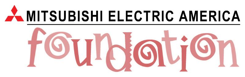 The words Mitsubishi America in plain black text of the word foundation in all small leters and salmon colored