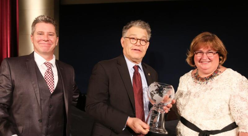 David Morrissey (Left), Senator Al Franken, and Isabel Hodge (Right)