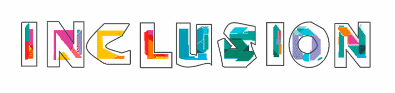 The word inclusion with each letter drawn in black outline and partly filled with patches of color in red orange yellow blue green and purple