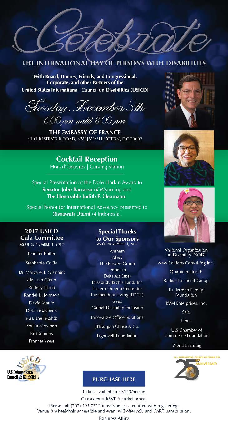 Image shows a formal invitation to the 2017 USICD Gala on December 5th from 6 to 8 pm at the Embassy of France  Click on the image or on the links in the article to a web page with more detail about the event in more accessible format