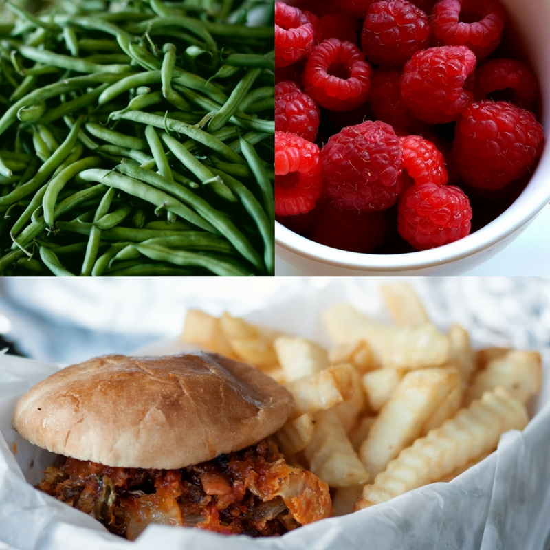 Green beans_ raspberries_ sandwich and fries