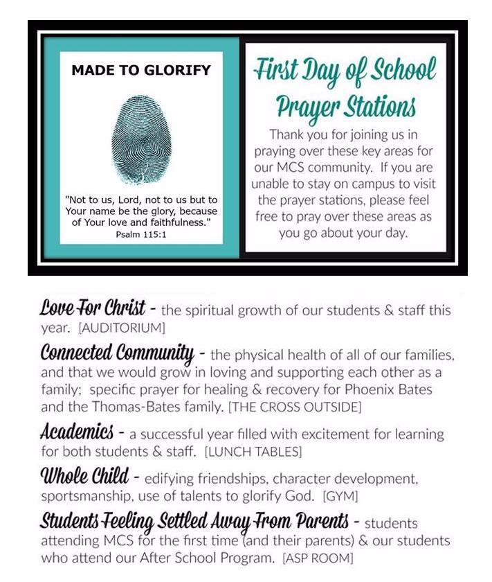 First Day of School Prayer Stations