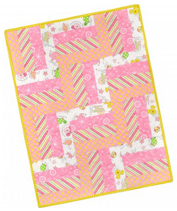 Baby Quilt 12 Block Rail Fence Pod - Pink