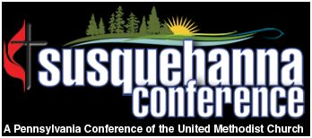Conference logo stating A Pennsylvania Conference of the UMC and showing cross and flame as well as graphic with trees_ sunrise and blue river strip below