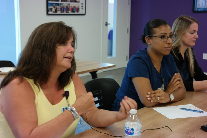 Gina Corbett, CRNA, shares her thoughts during bargaining.