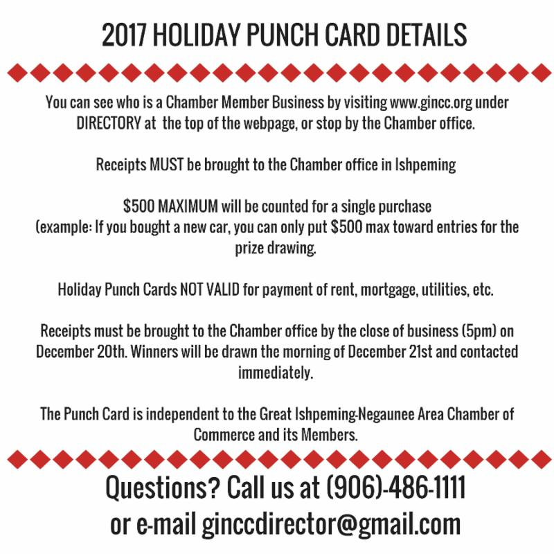 Holiday Punch Card in Full Swing, Job Opening at Marquette Chamber ...