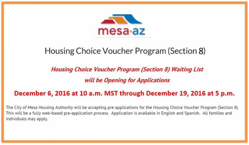 Mesa Housing Section 8 Waiting List is OPEN
