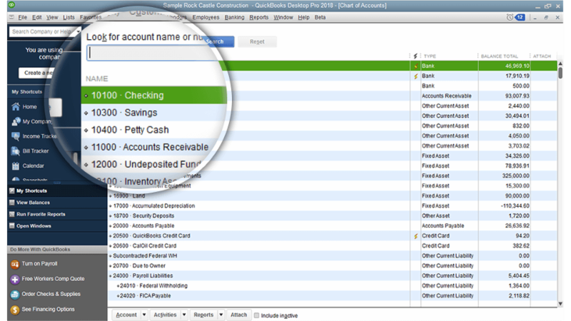 Search Your Chart of Accounts In the New QuickBooks Desktop