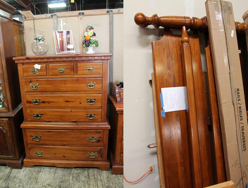 Beautiful Bedroom Suite By Link Taylor, Colonial Pine, Long 17 Drawer  Dresser With A Double Mirror For $350, Pair Of Night Stands For $50 Each,