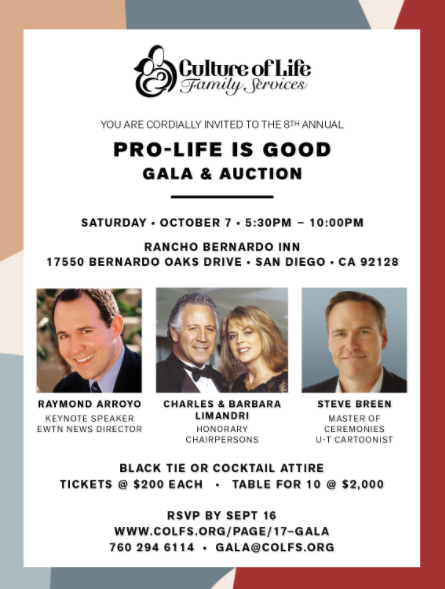 Annual Pro-Life is Good Gala and Auction