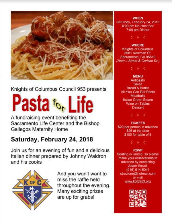 Pasta for Life Dinner