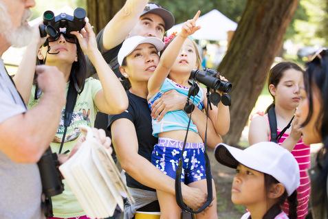 Family birdwatching at Spring Lake Park