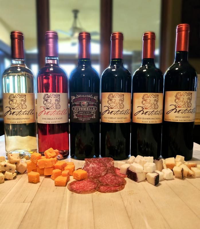 Wine Tasting Lineup with cheeses