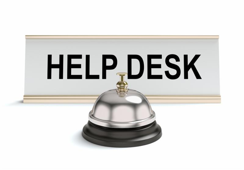 3D concept with  help desk  sign and bell on a white background