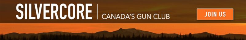 Silvercore Gun Club banner.  Memberships include 10 Million CAD North America-Wide liability insurance
