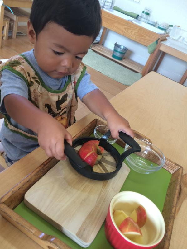 Toddler apple slicing