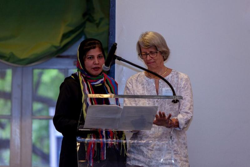 Tasneem Tahira and Vicki McCready at Podium Giving Speech