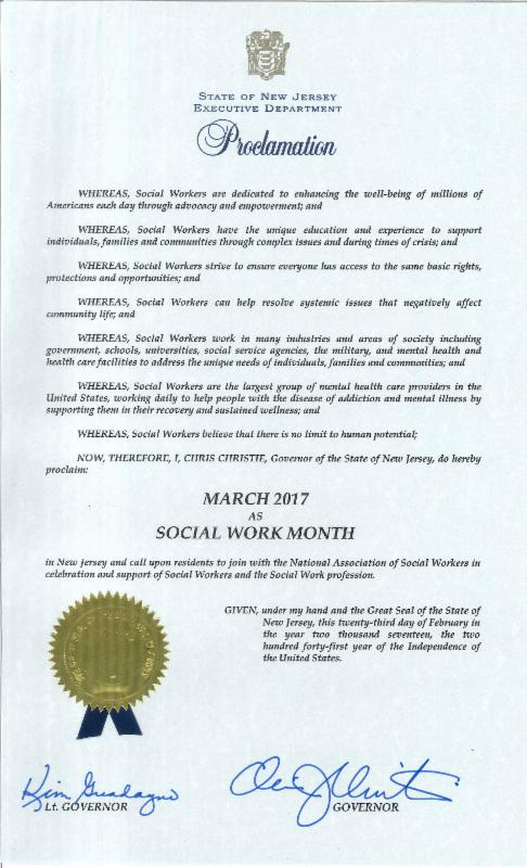 Proclamation of Social Work Month
